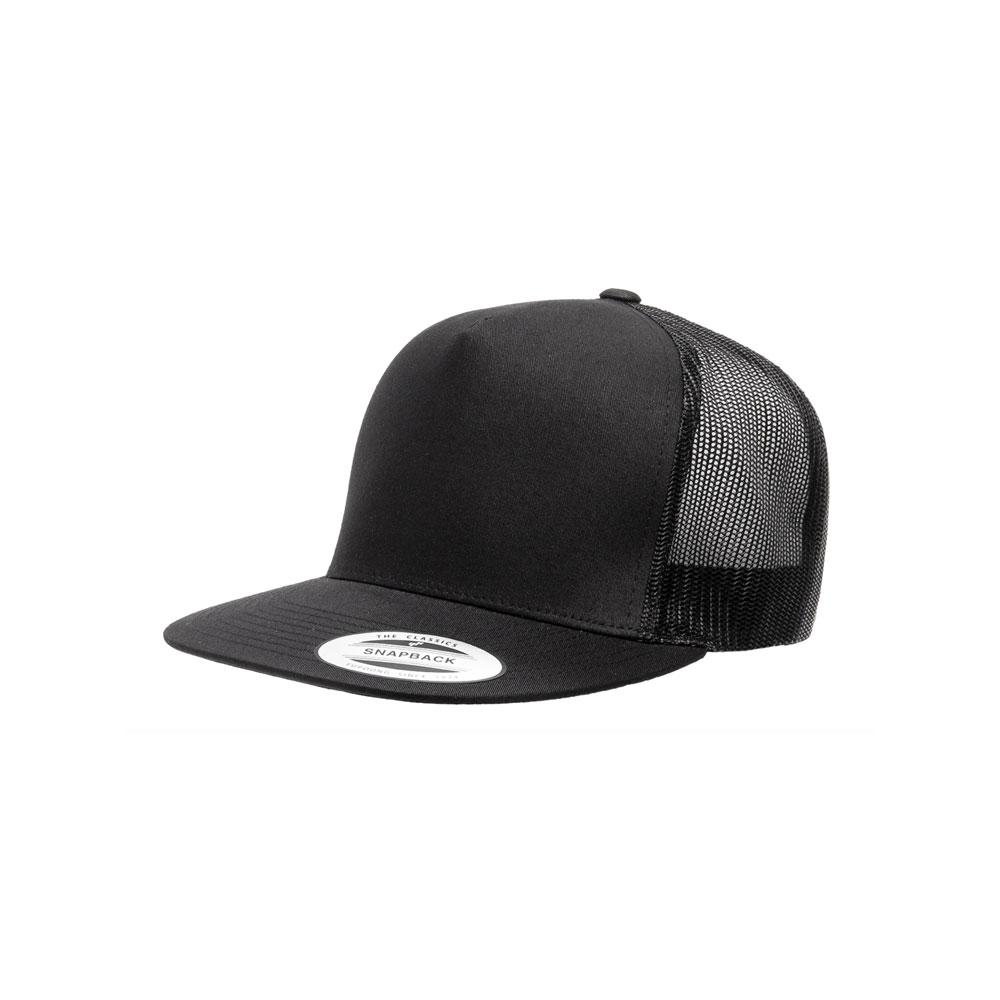 Blank Hat  Flexfit Yupoong 6006 Black Mesh Flatbill Snapback – Double  Portion Supply 53c90daeead